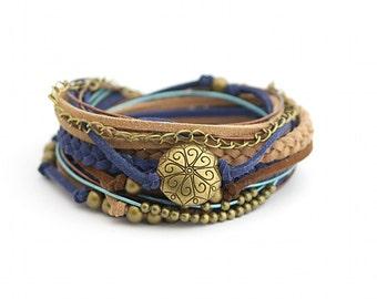 Brown Blue Boho Wrap Bracelet, Hippie Bohemian Jewelry, Brown Navy Women Jewelry, Trending Brecelets, Christmas gift for her, hippie style