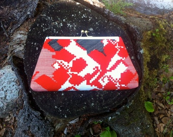Red, White, Navy Patterned Clutch - Framed Kiss Lock Reclaimed, Vintage Fabric, upcycled remnant