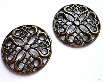 Antique Bronze Brass Flower Findings Package of 6