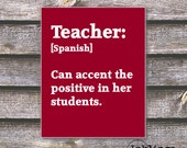 "8""x10"" Printable / Digital Poster 'Teacher - Spanish'- in Crimson - JPG - Instant Download"