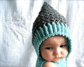 PATTERN:  Seedling Pixie Bonnet, baby hat, 3 Sizes, easy crochet PDF, InstanT DigiTal DownLoaD, Permission to Sell