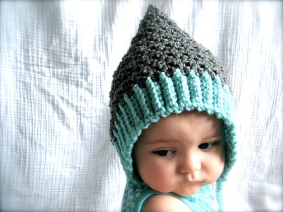 Baby Gnome Hat Knitting Pattern : PATTERN: Seedling Pixie Bonnet baby hat 3 Sizes easy