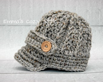 Newborn boy newsboy hat, baby boy hat, newsboy hat, grey, gray, infant boy hat, newborn boy photo prop, newborn boy clothes, crochet hat