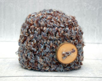 Baby boy hat, Newborn boy hat, baby boy beanie, newborn photo prop, crochet baby hat, brown, blue, button beanie, infant boy hat