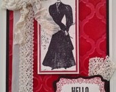 Handmade, Stamped Victorian Card Made with Faux Leather