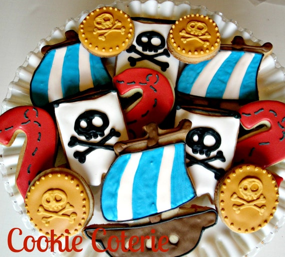 Pirate Themed Decorated Cookies Birthday Party Cookie Favors One Dozen