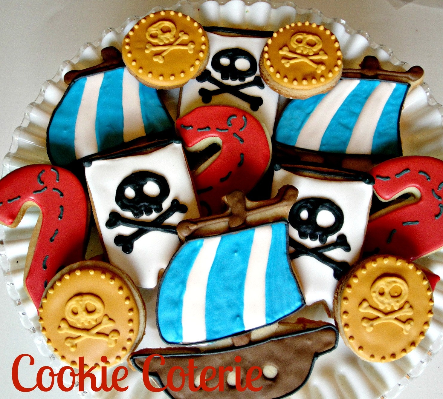 Pirate Themed Decorated Cookies Birthday Party Cookie Favors