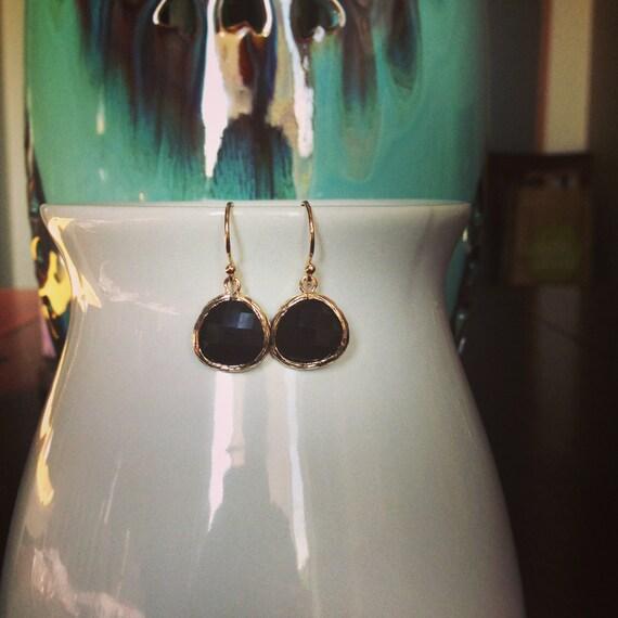 Amy Earrings (Gold) - Black Onyx