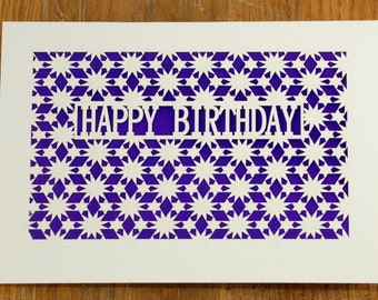 Happy Birthday with a Geometric Star Pattern, laser cut greeting card