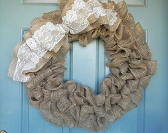 Burlap Wreath With Large Burlap and Lace Bow- X-Large 25 inch - Tan Burlap Wreath