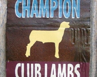Antique Rusty metal Show Lamb sign