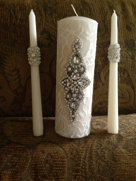 Rachael Crystal & Pearl Unity Candle Set