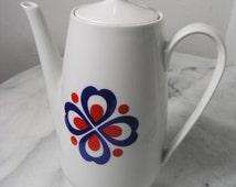 Vintage Porcelain Tea Pot, Mid Century Red and Blue on White Tea Pot, Porcelain Teapot brand CP Colditz, 1970s Ceramic Teapot, Tea Pot