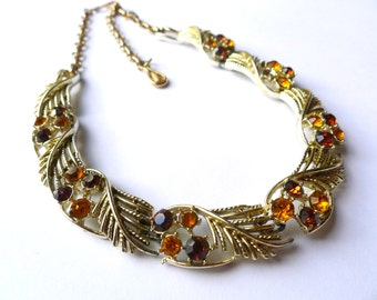 Vintage Rhinestone Choker Collar - Autumn Colors, Gold Tone Setting - Signed CORO