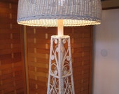 Victorian style vintage wicker floor lamp from the 50's