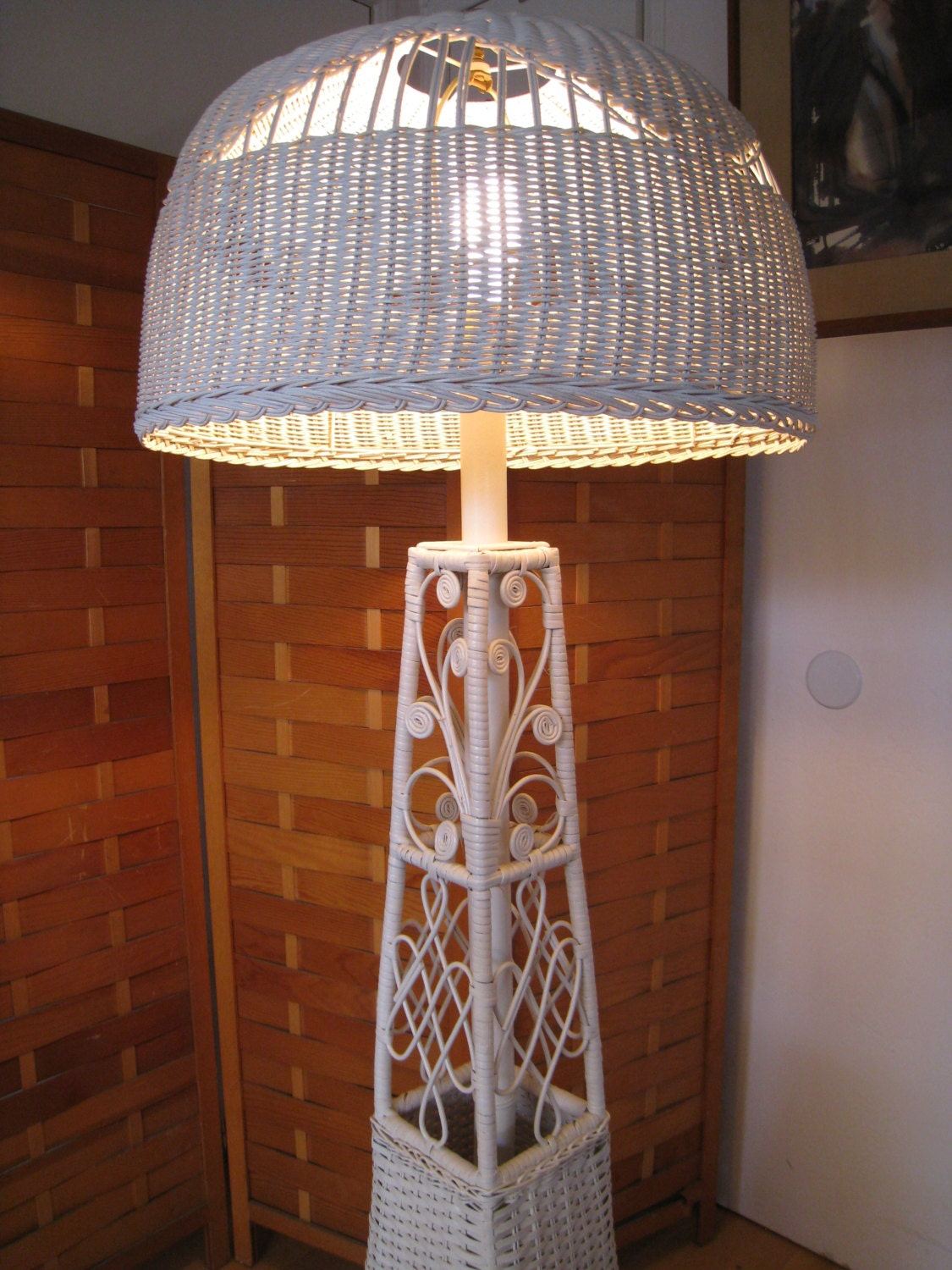 Victorian style vintage wicker floor lamp from the 50s for White victorian floor lamp
