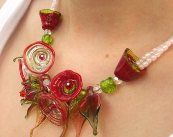 Lampwork Delicate Red and Green Spring Flowers, Romantic Necklace, Unique Birthday Gift Necklace