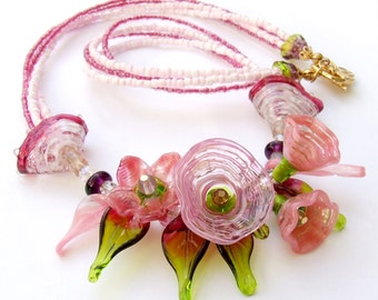 Lampwork Necklace, Spring Flowers, Delicate, Romantic Necklace, Pink Flowers, Beadart Necklace, Birthday Gift !  Made to Order