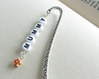 Name Bookmark, Personalised Bookmark, Beaded Metal Bookmark, Engraved Bookmark, Flower Bookmark, Custom Bookmark, Personalised Gift