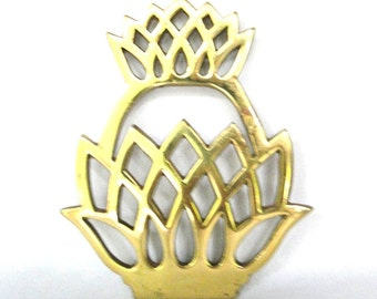 Vintage Trivet Brass Pineapple Welcoming Inspired Symbol Of Hospitality Home Decor Hostess Serving Ware