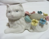 Vintage White Cat Pincushion