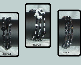 SALE----Memory Wire Bracelets with Black Onyx, Black Stone, White Shell & Hemalyke