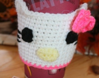 Kitty Coffee Cup Cozy, Java Jacket, Travel Sleeve, Cozy, Reusable, Fits 12, 16 or 20 oz cups, Hand Crocheted by Jessica