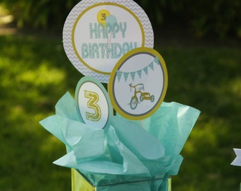 Retro Tricycle Printable Party Circles -- Centerpieces or Cake Toppers