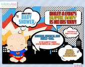Super Hero Baby Shower Invitations (468) Baby Boy Shower | 12 PRINTED Invitations with Envelopes