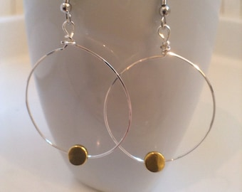 Delicate Silver and Gold Hoop Earrings