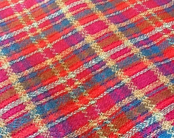 Missoni, woven, cotton, multiple fibers, colors, plaid.red, yellow,blue