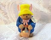 """Paddington Bear Figurine Vintage Enesco 3.5"""" Porcelain Paddington Bear Figurine with Easter Basket"""