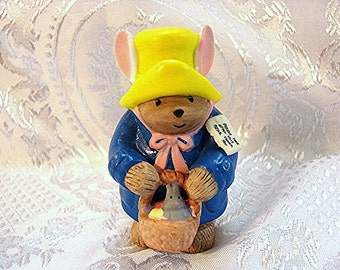 "Paddington Bear Figurine Vintage Enesco 3.5"" Porcelain Paddington Bear Figurine with Easter Basket"