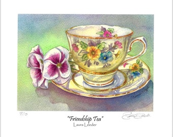 Friendship Teacup With Painsies Ltd Edition Giclee Print