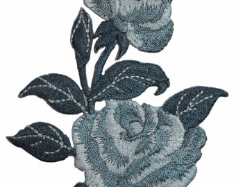 ID #6581 Blue Rose Blossoms Flowers Plant Iron On Embroidered Patch Applique