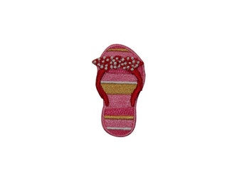 ID #7403 Pink Sandal Flip Flop Right Fashion Iron On Embroidered Patch Applique
