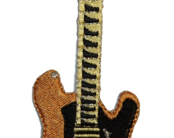 Tan Electric Rock Guitar Embroidered Iron On Applique Patch