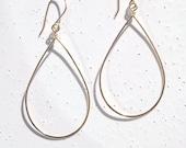 14k Gold-filled Medium Teardrop Earrings, Hammered Gold Teardrop Earrings