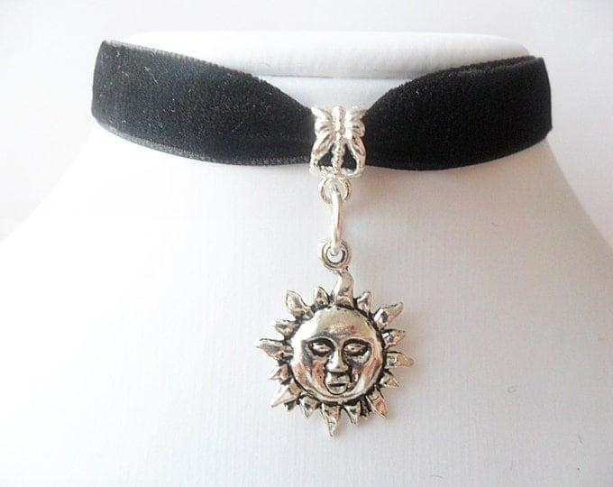 "Sun choker necklace with 3/8"" black velvet ribbon, Leon, Mathilda, Natalie Portman Ribbon Choker Necklace"