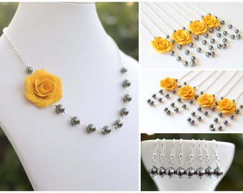 FREE EARRINGS, Yellow  Rose Flower necklace, Grey Swarovski Pearls, Asymmetrical Yellow and Grey Flower necklace.