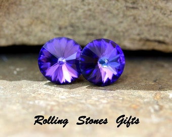 10.5mm Heliotrope Swarovski Rivoli Rhinestone Stud Earrings-Medium Heliotrope Rivoli Crystal Studs-Swarovski Heliotrope Rivoli Earrings