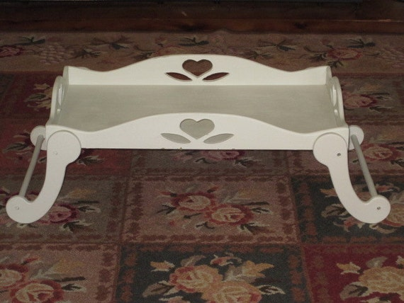 Vintage Shabby White Wood Composite Lap Tray Bed Tray Folding