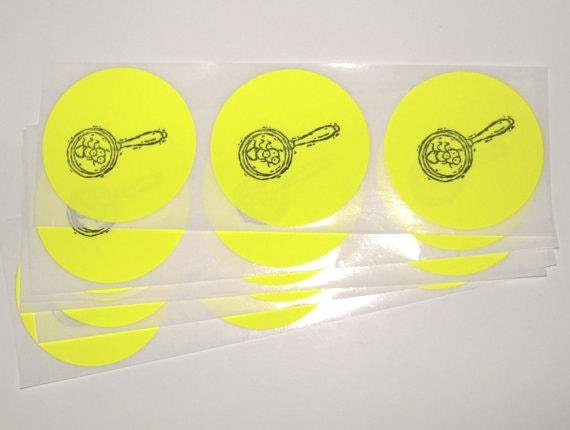 BUG CATCHER Sticker Seals / Yellow Label / Party Favor Bag Decoration / Set of 15