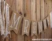 Mr & Mrs Burlap Banner // Lace and Pearls // Featured on Weddingchicks.com