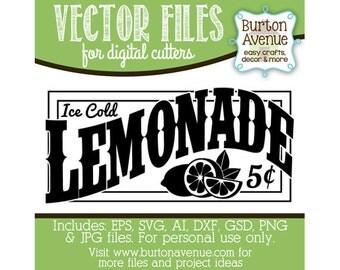 Lemonade Vector Digital Cut File (eps,svg, gsd,dxf, ai, jpg, png)