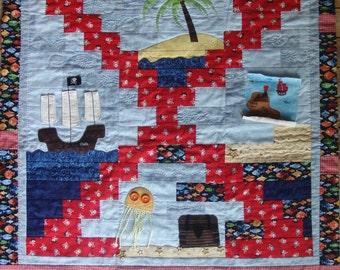 Nautical quilt / Pirate nautical patchwork and applique quilt for children KIT with pattern and fabric