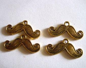 Four ANTIQUE Gold MUSTACHE CHARM