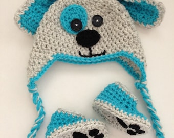 Crochet Baby Hat and Booties Newborn Dog