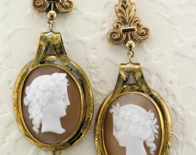 14 Karat and 10 Karat Yellow Gold Shell Cameo Earrings