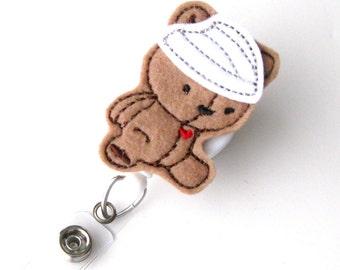 Get Well Teddy - PICU Nurse Badge Holder - Peds RN Badge Reels - Retractable ID Holder - Felt Badge Reel - Pediatrician Badge - BadgeBlooms
